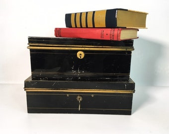 Antique Shabby Chic Painted Metal Lock Boxes - Cash Money Storage- Chippy Black, Red & Gold Painted w/ Handles - Vintage Retro Home Decor