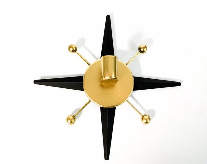 Single Mid Century Atomic Starburst Wall Sconce - 60s Vintage Black & Gold Retro Design - Retro Kitsch Candle Holder Home Wall Decor
