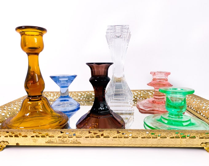 Vintage Glass Candleholders Mix 2nd Time Around Collection - 6 Retro Colorful Home Decor Candlestick Holders Depression Era thru Mid Century