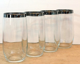 4 Vintage Silver Rimmed Dorothy Thorpe Style Mad Men Large Tumblers - Mid Century Glasses - Silver Rimmed Glasses