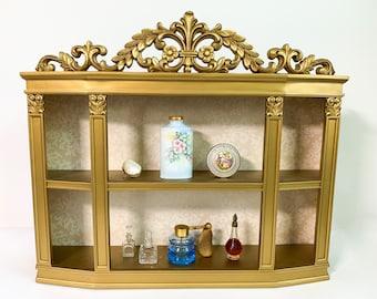 Vintage Syroco Wall Cabinet Ornate Hollywood Regency Shelf - Large Gold Shelf Mid Century Wall Mount Home Decor 1971