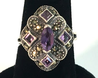 Vintage Ornate Sterling Silver 5 Amethysts & Marcasite 925 Sterling Silver Ring w/ Shield Design - Retro Jewelry Purple Gem Stone Hallmarked