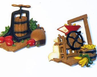 Vintage Homco Country Cottage Wall Decor Metal Plaques -  Apple Cider Press Corn Sheller Kitchen Hangings Farming 1976 Country Cottage Chic