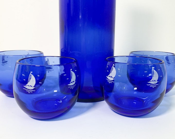 Retro 4 Ships Blue w/ White by Hazel Atlas Ca 1935 - Roly Poly Mad Men Small Drinking Glasses - Vintage Set Four - Early Mid century Mod