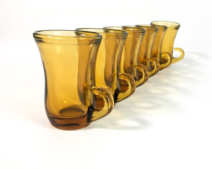 6 Vintage Handblown Amber Glass Espresso Mugs Glass Set of Six Demitasse Glasses - Double Shot Cups Espresso Glasses