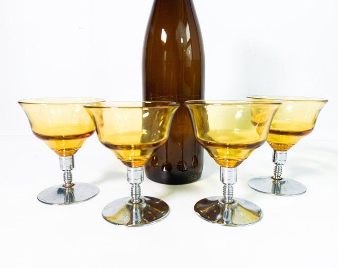 Vintage Set 4 Amber Cocktail Glasses w/ Silver Metal Base - Retro Barware - Yellow Bowl w/ Chrome Stem Four Glasses