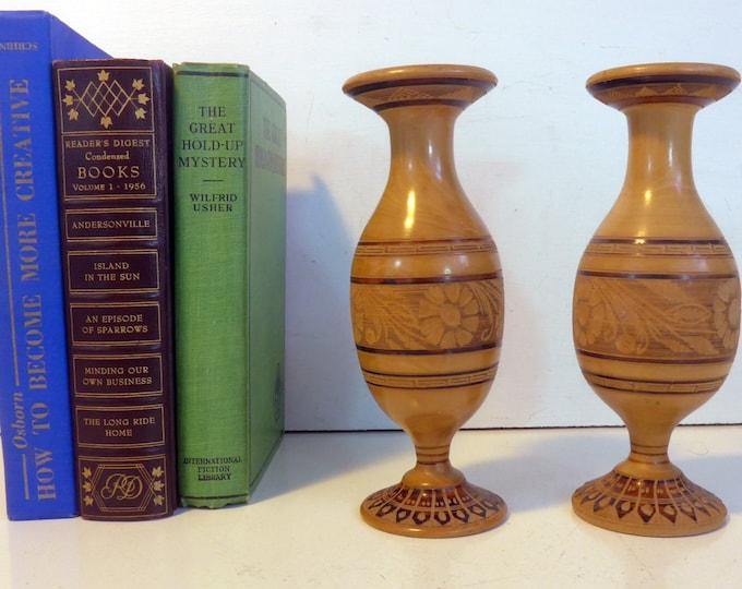 Wood Vase - Pair Matching Vintage Hand Etched Turned Wooden Vases - 2 Dark & Light Stained Wood Vase Home Decor