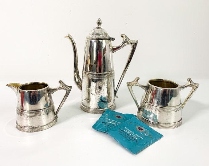 Antique Shabby Chic TEA SERVICE Silver plate Teapot Creamer & Sugar Vintage Sheffield Co 1112 Silverplate Tea Service or Coffee Pot 3 pc Set