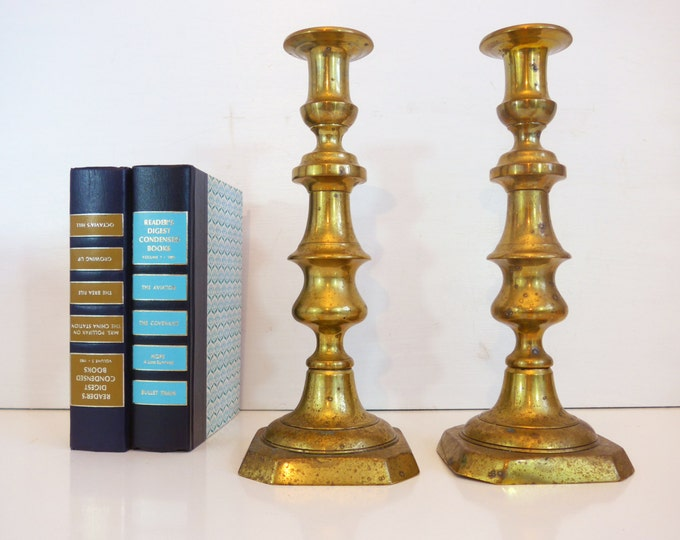 2 Vintage Thick and Tall Brass Candlesticks - Pair of Large Brass Candle Holders - Wider and Thicker Than Most Candlesticks