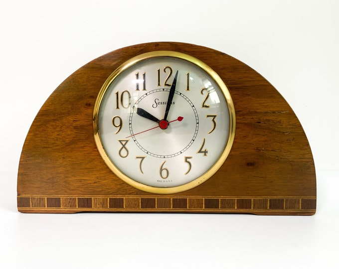 Vintage Art Deco Style Wood Sessions Electric Mantle Clock - Wood Inlay on Front - Retro Table Top Home Decor