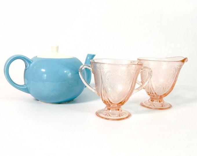 Pink Depression Glass Sugar & Creamer w/ Etched Garland - Art Deco Depression Glass Antique - Raised 3 Rose Pattern - Unique Kitchen Serving