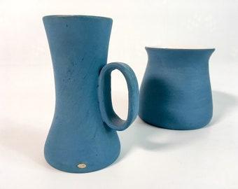 Vintage Ceramic Sugar & Creamer - Blue Mid Century Mod Arturo Vallenti FUNKY 2 Piece Service