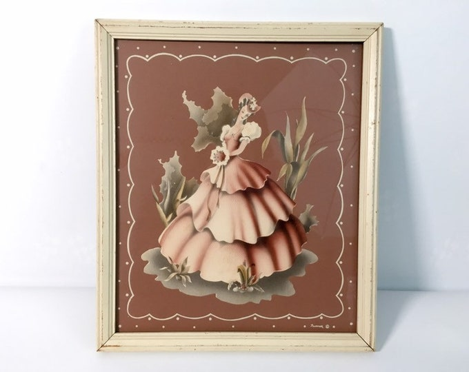 Vintage Turner Wall Accessory Victorian  Woman In Pinks Framed Glass Print - Mid Century Retro Home Decor -  Wall Hanging
