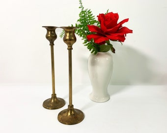 2 Tall Slender Vintage Brass Candlesticks - Pair of Thin Brass Candlesticks - Two Unique Retro Matching Candle Stick Holders