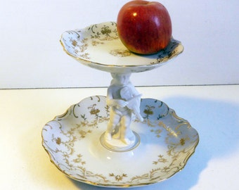 Vintage Angel Ornate Ardalt Lenwile China Two Tier Serving Tidbit Tray - Mid century w/ Original Stickers Intact Japan