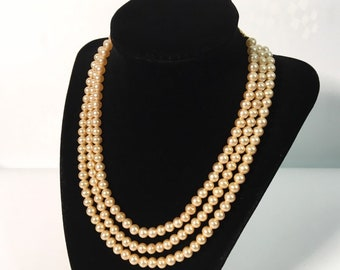 Vintage ModeArt 3 Strand Pearl Necklace w/ Extender Chain - Mid Century Golden Tone Faux Pearls Retro Jewelry - Retro Choker