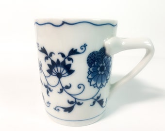 Vintage Blue Danube Mug - Retro Mid century Blue on White Flower Floral w/ Openwork Handle Made in Japan