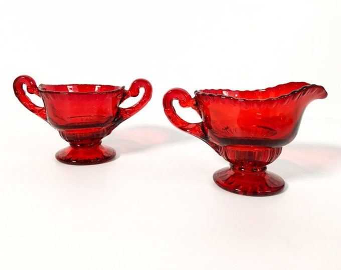 Vintage Red Glass Sugar & Creamer - Depression Era Ruby Red Small Set - Open Sugar, Ornate Handles - Retro Kitchen Serving or Display