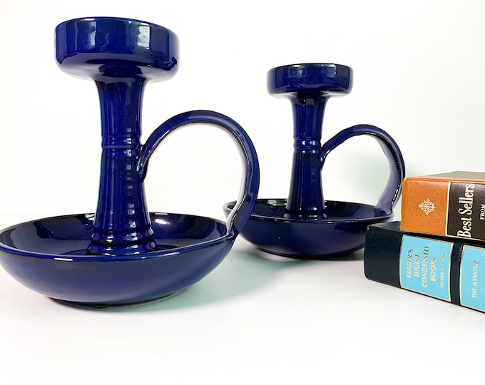 Vintage Pair Mid Century Mod LARGE Blue Ceramic Candle Holders - 2 Signed Candlestick Holders Modern Made in Italy - Retro Home Decor