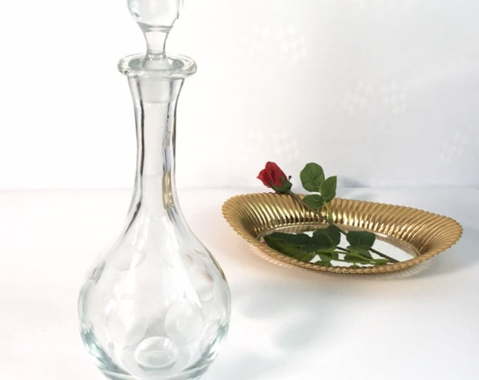 Vintage Hand Blown Glass Decanter w/ Cut Round Polka Dot Design w/ Faceted Stopper - Round Shape Vintage Retro Barware