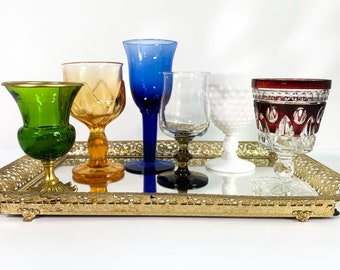 2nd Time Around Vintage Set 6 Amber, Green, White Milk Glass, Red w/ Clear, Blue Wine Glasses - Retro Collection / Combo Drinkware Stemware