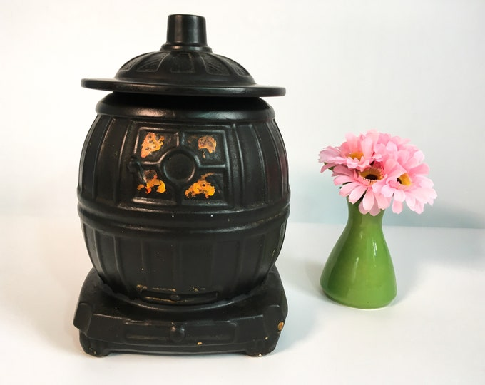 Vintage McCoy Cookie Jar Black Pot Belly Stove -Retro Farmhouse Cottage Shabby Chic Kitchen Decor