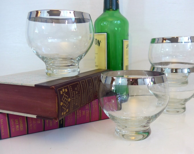 Set of 4 Vintage Silver Rimmed Large Wine or Cocktail Glasses - Footed - Clear Glass Silver Rim - Mid century