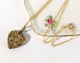 Antique 10K Gold Filled Heart Pendant Necklace - Vintage Petite Embossed & Monogrammed Heart Charm on 14K GF Fine Double Rope Chain - Love