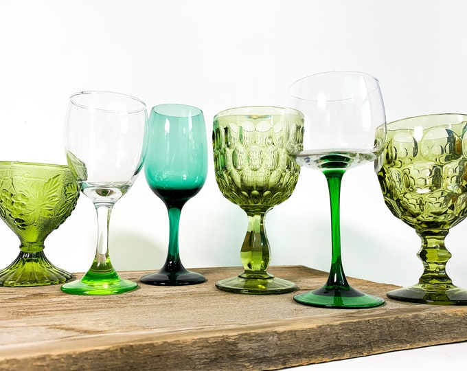 2nd Time Around Vintage Set 6 Green Wine/Water Glasses - Unique Retro Collection /  Combination Barware Stemware - Shades of Green Drinkware