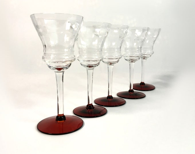 5 Vintage Etched Ruby Red Base Cordial Wine Glasses Set of 5 Cordials - Small Retro Red Base w/ Clear Stem & Bowl Etched Barware Stemware