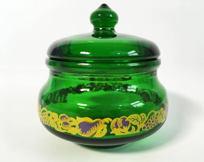 Retro / Vintage Green or Emerald Jam or Jelly Jar - Lidded jar w/ Fruit Trim on Glass - Green Glass Container - Made in Belgium
