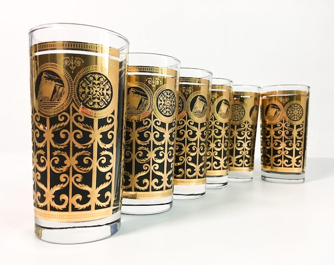 Set of 6 Mid century Glasses Black & Gold Tall Tumbler Glasses - Vintage / Retro Mid Century Modern