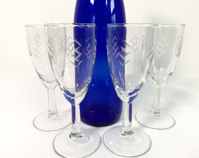 Vintage Set 4 Etched Wine Glasses - Four Large Clear Retro Cocktail Glass w/ Crosshatch Motif