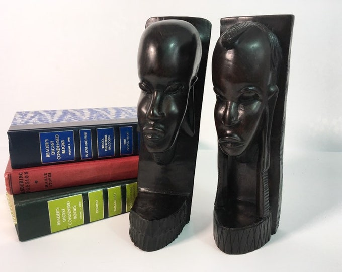 Vintage Hand Carved Wooden Native Statues / Bookends - Ebony Figurines Tribal Tanzania Hand Carved Dark Wood Pair
