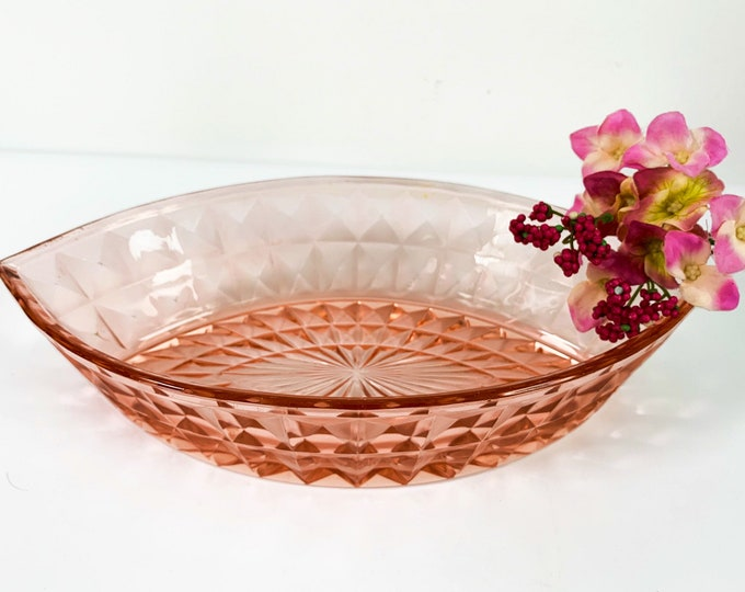 Pink Depression Glass Bowl  Dish - Marquis Shape and Cube Pattern - Vintage Retro Kitchen Dining Home Decor or Centerpiece