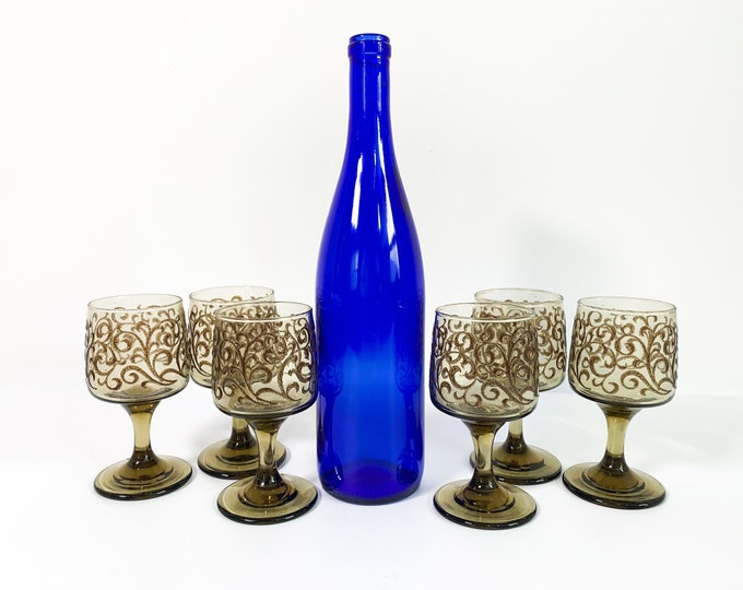 Set of 6 Prado Libbey Tawny w/ Scrolls Wine Glasses - Six Vintage Libbey Brown Wine Glasses