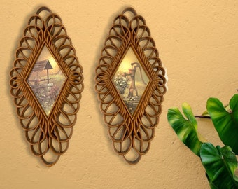 Pair Vintage Burwood Wall Art 1975 - 2 Cottage Chic Hangings - Faux Wicker Mid Century Kitsch Home Decor Burwood No. 1350
