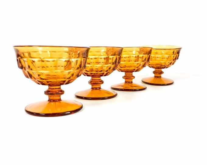 Vintage Set of 4 Amber Sherbet Champagne Glasses - Whitehall Amber w/ Straight Rim by Colony Heavy Dessert Glasses Waffle Design - Retro