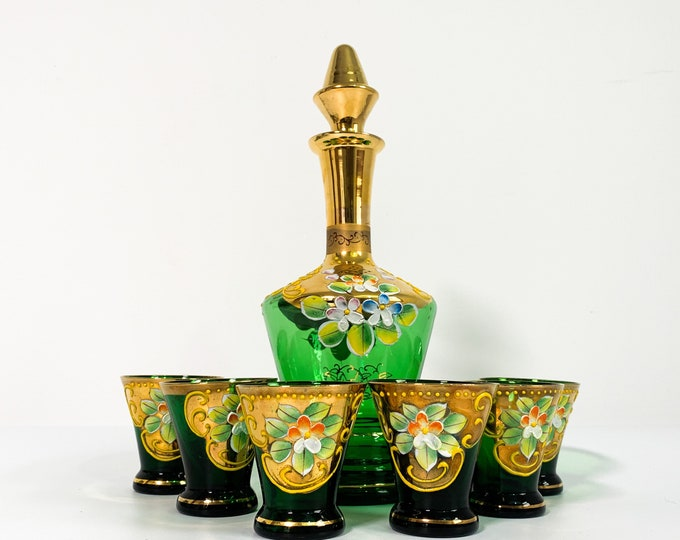 Vintage Hand Painted Green Decanter, Stopper & 6 Glasses - Retro Flower Pansy Design w/ Gold Trim Made in Italy Mid Century Barware Serving