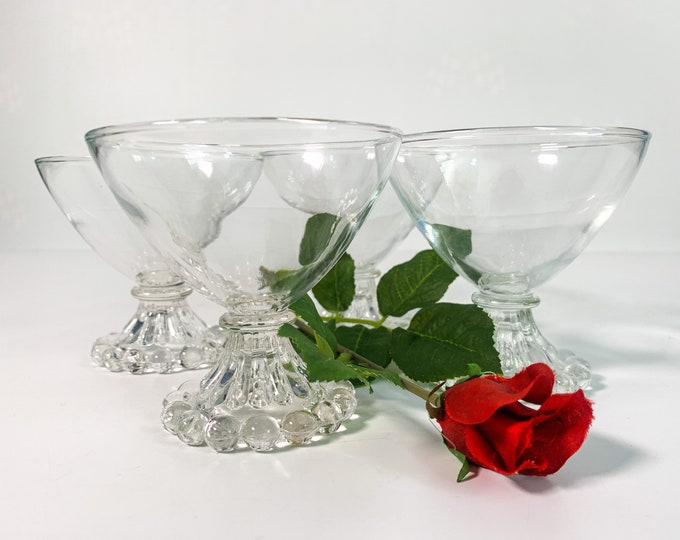 Vintage Set 4 Boopie Clear Glasses by Anchor Hocking - Four Retro Champagne / Tall Sherbet Clear Bowl & Clear Stem - Circa 1950s Glassware