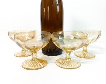 4 Vintage Light Depression Glass Champagne Coupes Retro Stemware - Slightly Iridescent Finish