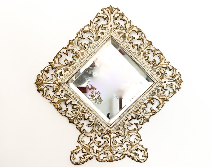 Vintage Wall Beveled Mirror w/ Off-white & Gold Metal Frame - Unique Ornate Home Decor Wall Hanging