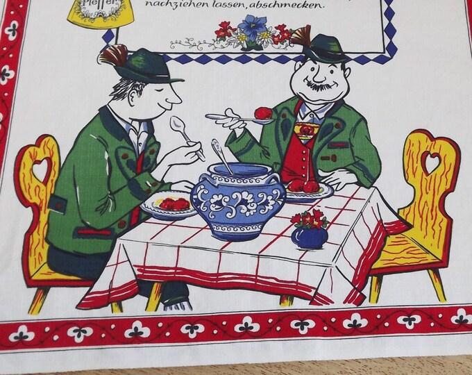 "Vintage Kitsch Kitchen Linen Recipe Wall Hanging Banner - German ""Leberknodelsuppe"" Liver Dumpling Soup - Bright Colors - Sounds Delicious!"