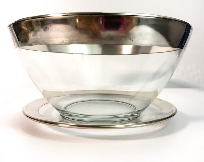Dorothy Thorpe Style Salad Bowl Silver Band w/ Liner Plate  - Vintage Flared Silver Rim Bowl - Mad Men Serving / Kitchen Decor - Mid century
