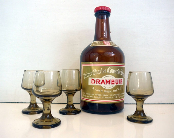 4 Vintage Libbey Tawny Accent Smoky Brown Cordial Glasses  - Set of 4 Cordials by Libbey in Tawny Brown