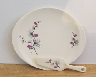 Serving Tray China Cake Plate / Platter w Matching Server Set - Off White/Cream Colored Pink Floral Design - Shabby / Country Cottage Chic