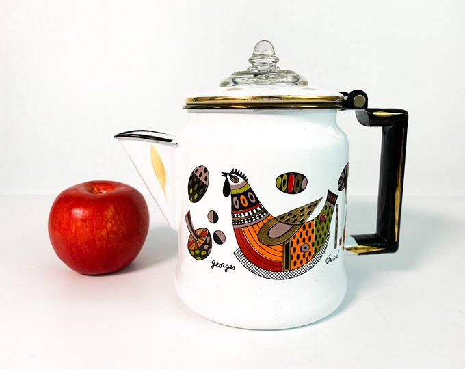 Vintage 1950s Georges Briard Coffee Perculator -  Designer Enamel w/ Chicken Rooster Mushroom Designs Pot - Mid Century White Brown Orange