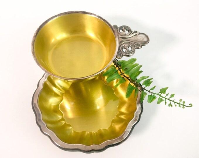 Silver plate Oneida Silversmiths Porringer & Nut Dish / Bowl - Vintage Oneida Silverplate Yellow Enamel - Mid century Decor