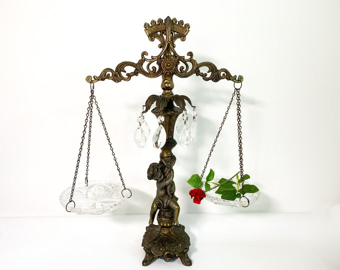 Vintage Scales of Justice w/ Glass Dishes - Gift for Lawyer Retro Library Hone Decor Cherub Angel Ornate