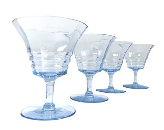 4 Vintage Light Blue Ritz by Cambridge - Depression Era Low Sherbet Glasses Stemware - 4 Retro w/ Optic Ribs - Drinkware Circa 1930